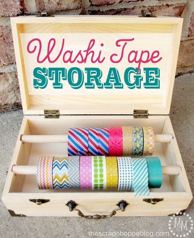 DIY Craft Room Ideas and Craft Room Organization Projects -  Washi Tape Storage  - Cool Ideas for Do It Yourself Craft Storage - fabric, paper, pens, creative tools, crafts supplies and sewing notions |   http://diyjoy.com/craft-room-organization
