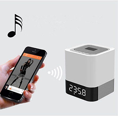 Multifunction: this is 4 in 1speaker, can as Bluetooth 4.0 Speaker, Touch Sensor Night light, Alarm Clock, MP3 Player. , Bluetooth 4.0, transmission distance up to 10m,more stable transmission performance, compatible with all Bluetooth-enabled devices, whether indoor or outdoor, you can keep control of the speaker, listening to your favorite music. 3 Level brightness adjustable touch sensor warm LED night light (MAX 20 Lumen) with cool design on top. With LED light lighting function.