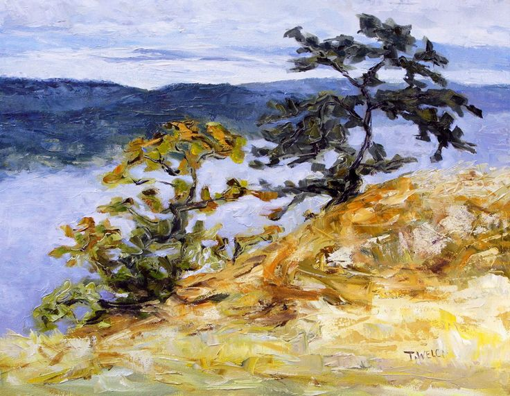 Garry Oaks on Brown Ridge 14 x 18 inch oil on canvas contemporary Canadian landscape art by Terrill Welch
