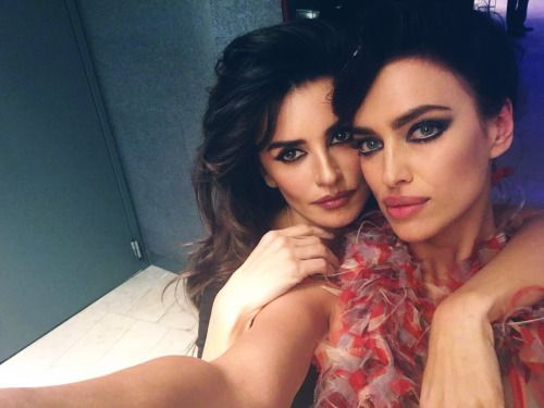 Strike a pose! Penelope Cruz and Irina Shayk with black cat eyeliner makeup. #makeup #eyeliner