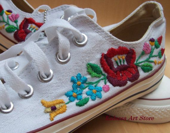 Custom Converse Kalocsai Sneakers by KalocsaArtStore on Etsy