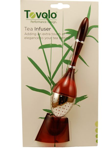 Tired of the old ball and chain tea infuser? This tea infuser allows you to steep the perfect cup of tea in style. This stylish infuser is designed for easy stirring and for easy insertion and removal