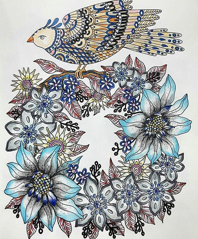 Not much coloring done and im just trying to get more rest. Wish everyone have a great weekend ahead   Sharing done page from Dagdrommar by Hanna Karlzon @hannakarlzon  Happy weekend!  #hannakarlzon #dagdrommar #daydreamer #blueflowers #birds #jomkalerdagdrommar #happyweekend #daydreaming #feverfevergoaway #adultcoloringbook  19.11.2016