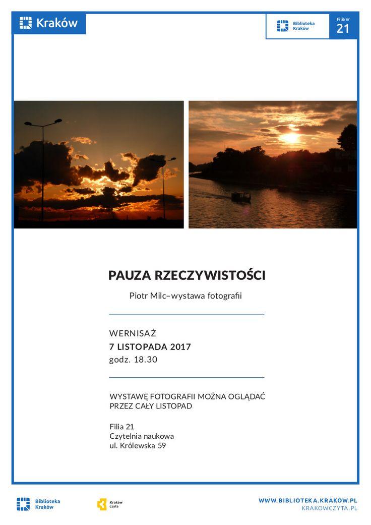 Piotr Milc, mieszkaniec Krowodrzy i pasjonat fotografii. Głównym tematem jego zdjęć są krajobrazy, szczególnie ukochane góry, a także Kraków, jego rodzinne miasto, w którym odkrywa miejsca do których zwykle nie docierają turyści, a które są równie warte obejrzenia.  Wystawę można oglądać przez cały listopad w godzinach pracy czytelni.  Wernisaż wystawy 7 listopada o godzinie 18:30.