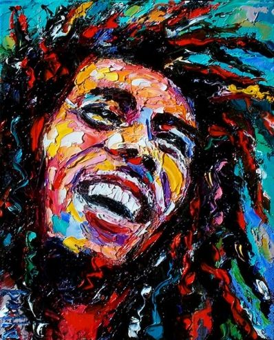Painting Portrait of Bob Marley by artist Debra Hurd