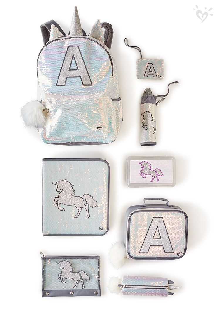 Unicorn at heart. Sparkling backpacks and supplies as magical as your girl.
