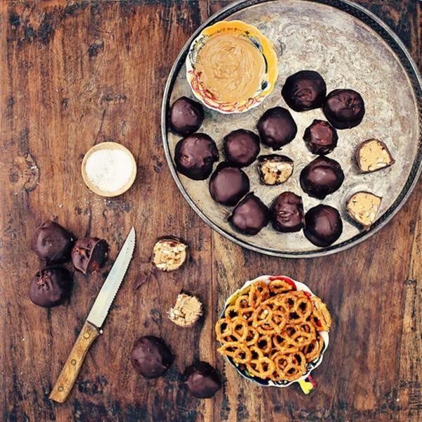 Boules chocolat, bretzel et beurre d'arachides