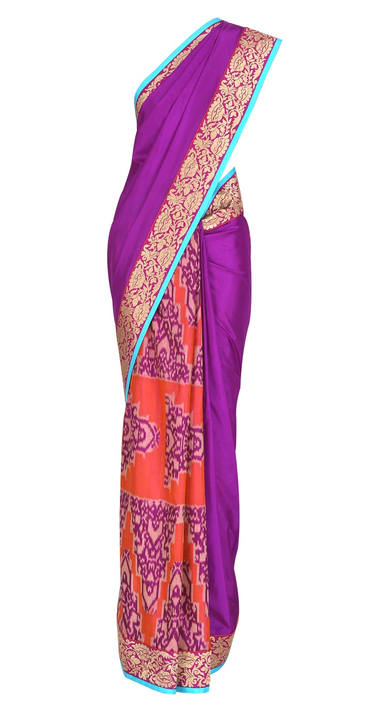 Flush rose sari with gold floral zari border by Deepika Govind    Shop at https://www.perniaspopupshop.com/whats-new/deepika-govind
