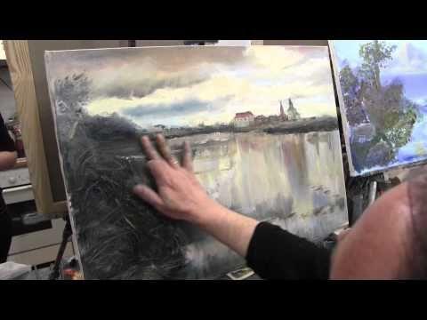 пишем храм у пруда маслом, уроки рисования и живописи в Питере и Москве, художник Сахаров - YouTube
