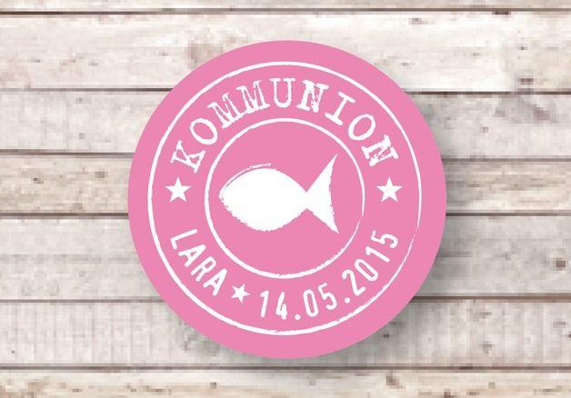 Dankeskarten - ★ KOMMUNION ★ 24 Aufkleber ★ Fisch ★ KONFIRMATION - ein Designerstück von Lena-und-Max bei DaWanda