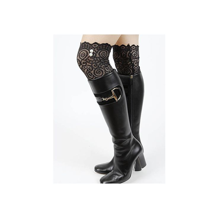 Black Lace White Faux Pearl Boot Toppers