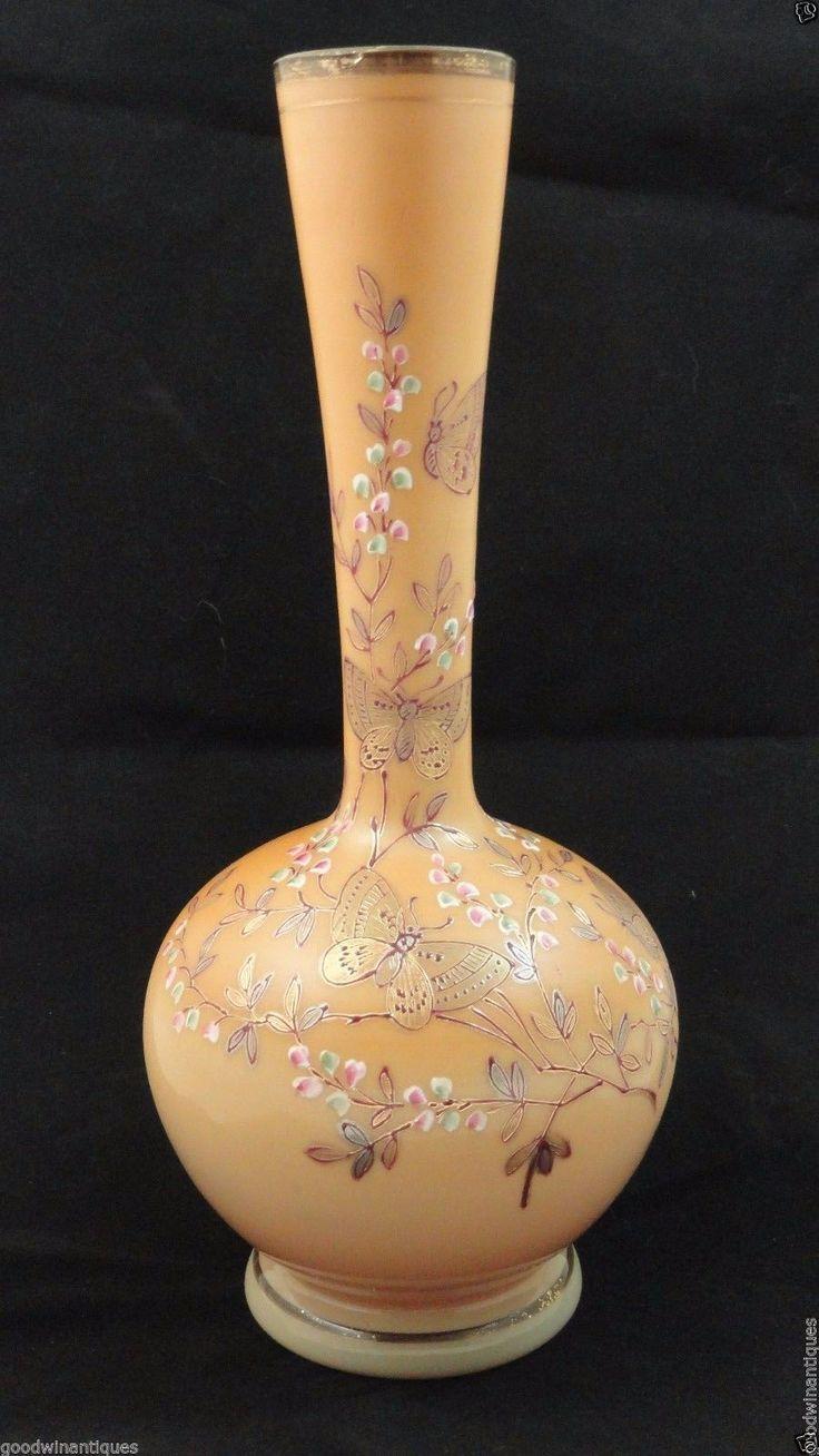 Antique Bohemian Victorian Harrach Hand Painted Enamel Butterfly Art Glass Vase | eBay