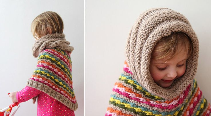 cowl collar becomes hood...too cute - Star Poncho by Pickles