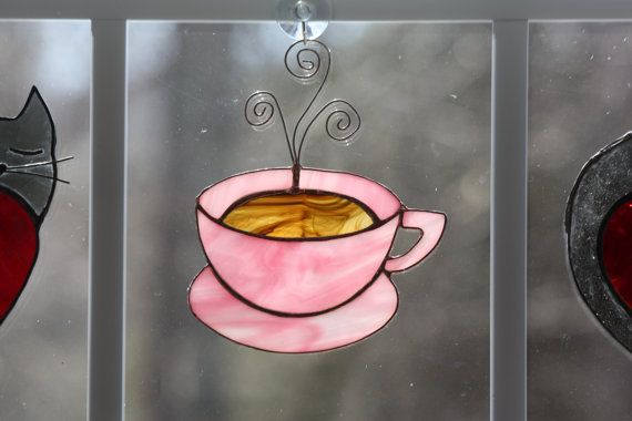 Stained Glass Coffee Cup Suncatcher by AnnersGlassShack on Etsy