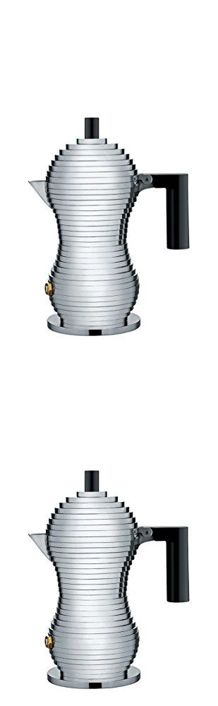 "Alessi MDL02/1 B ""Pulcina"" Stove Top Espresso 1 Cup Coffee Maker in Aluminum Casting Handle And Knob in Pa, Black"