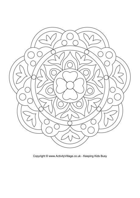 Rangoli colorear página 7