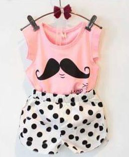 momsneed'shop: Dotty Pink Mustache Set