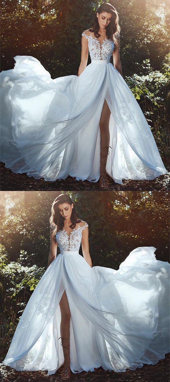 Elegant lace appliques cap sleeves chiffon wedding dresses with leg