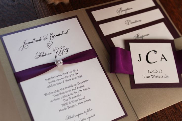 Glamourous Pocket Wedding Invitation in Eggplant and Gold Shimmer Paper, Rhinestone Buckle, Plum Satin Ribbon for Elegant, Classic Wedding. $5.00, via Etsy.