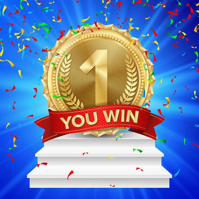 1st Place Winner Vector Gold Medal Realistic First Placement Achievement Competition Game Golden Achievement Winner Trophy Award White Winners Podium 1st 1 F Background Banner Ribbon Design Trophy