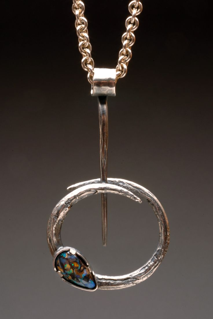 "Pendant | Wendy Thurlow. ""Circular Motion"". Sterling silver and boulder opal…"