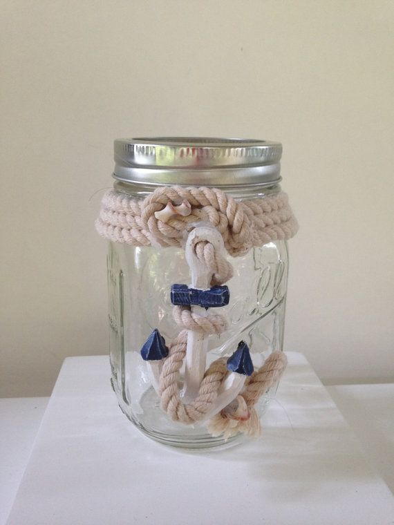 Nautical Anchor Rope Mason Jar Vase Candle Holder Lantern