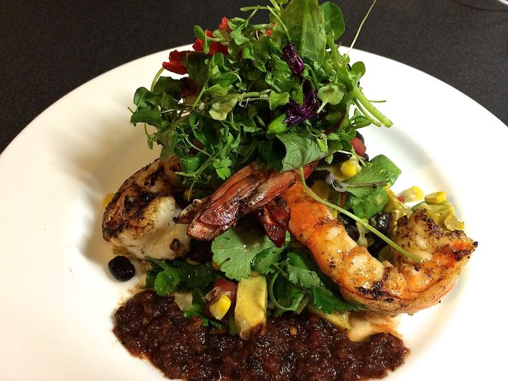 Adobo prawns with roasted corn and chipotle salsa http://bit.ly/1q5RxJf