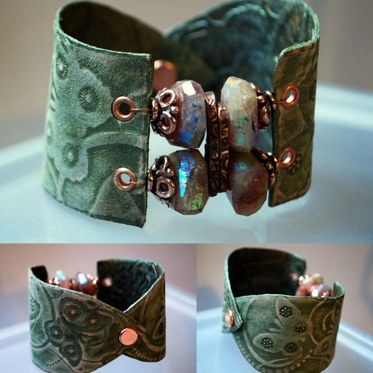 Butterfly and beads bracelet  $28 Melinda Orr Designs...copper and leather accents on cuff style bracelet Handmade ~