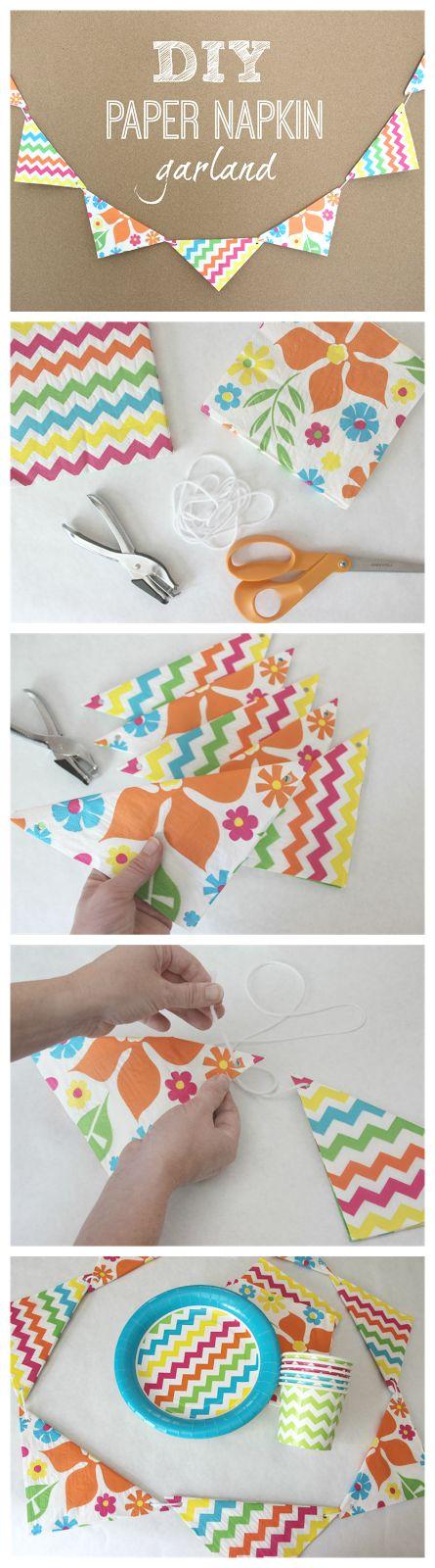 DIY Paper Napkin Garland #partydecor #garland #crafts #decorations #partydecorations #napkingarland #inexpensivepartydecorations #easy #DIY