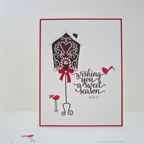 Sweet Season Greeting Card, holiday card, christmas card, holiday bird card, embellished with snow glitter, faux rhinestones, holiday wishes