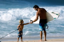 Father and son, Surfing, Ocean, Beach, Coast, Father surfing, child surfing