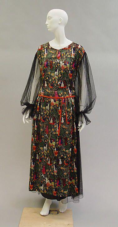 """""""Bois de Boulogne"""" dinner dress. Paul Poiret, 1919. Medieval-scene textile design by Raoul Dufy."""