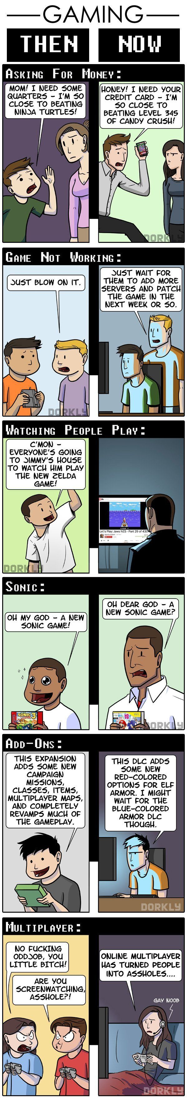 """Gaming, Then & Now (Part 3a)"" #dorkly #geek #videogames"