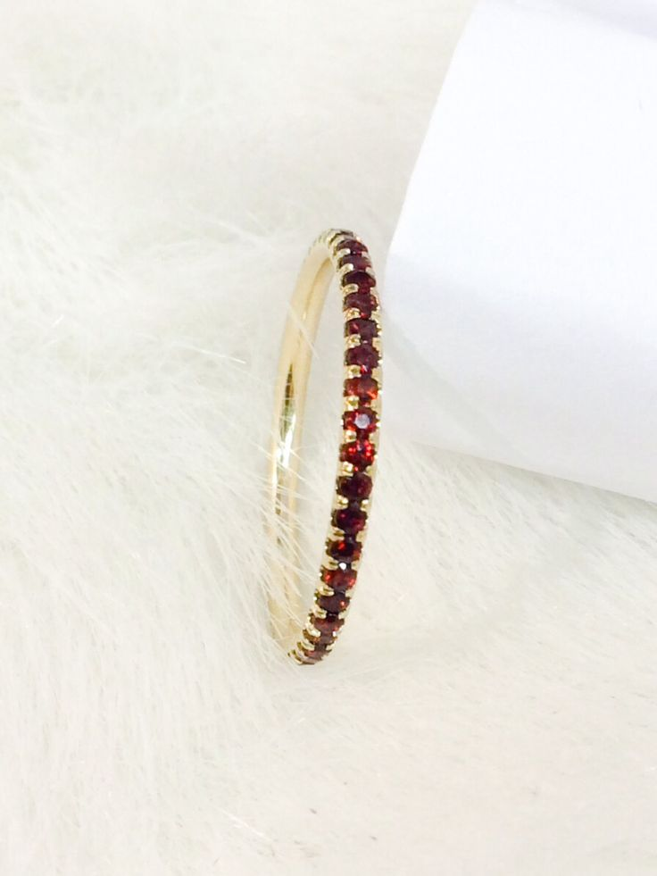 14k garnet eternity band 17mm full pave matching band natural garnet wedding band yellow gold garnet infinity 14k birthstone stacking ring
