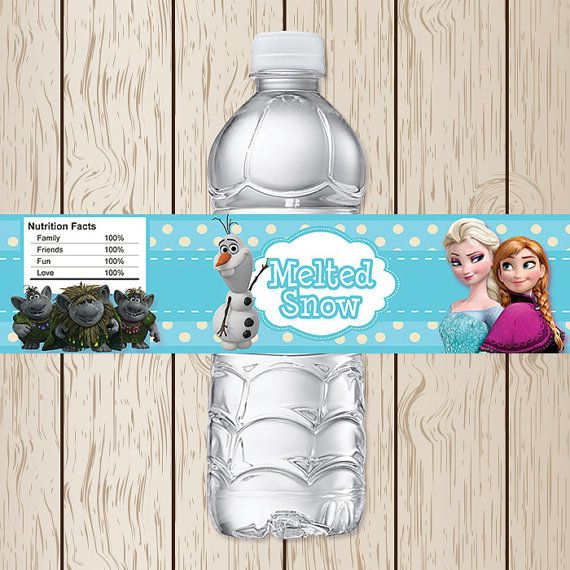 Printable Disney Frozen Water Bottle Labels | Frozen Birthday | Frozen Water Bottle Label | Frozen Party Supplies on Etsy, $3.00