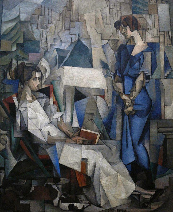 Diego Rivera, 1914, Two Women (Dos Mujeres, portrait of Angelina Beloff and Maria Dolores Bastian ), oil on canvas, 197.5 x 161.3 cm, The Arkansas Arts Center, Little Rock, Arkansas - Diego Rivera - Wikipedia, the free encyclopedia