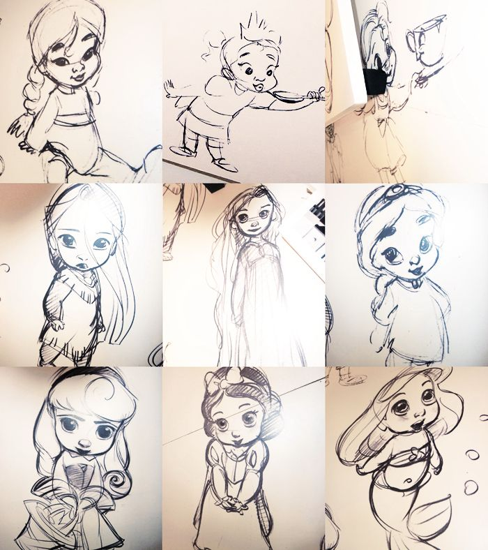 Sketch ideas for the Disney Animator Dolls collection by Glen Keane and Mark Henn