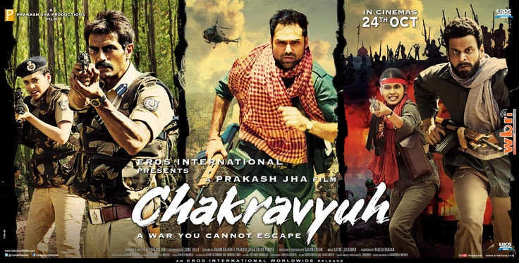 Watch the trailer: http://www.washingtonbanglaradio.com/content/84476412-war-you-cannot-escape-chakravyuh-2012-political-thriller-film-prakash-jha-poster-tr    Chakravyuh is a social commentary on the issues of Naxalites and is the story of two best friends: Adil (Arjun Rampal) and Kabir (Abhay Deol).