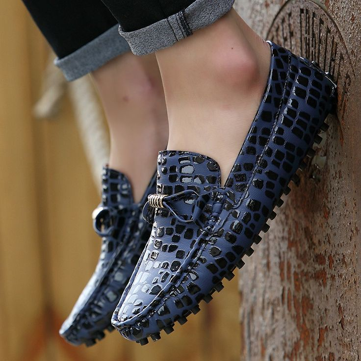 US $23 Leather Leopard Printed Men Loafers High Quality Driving Shiny Swag Soft Comfy Formal Driving Loafers Grey Red Blue