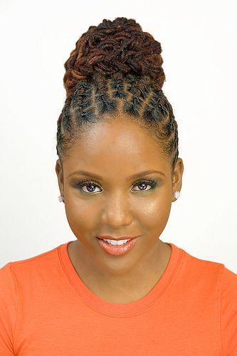 kinky twist hairstyles for black women | Dreadlock twist cute bun hairstyle