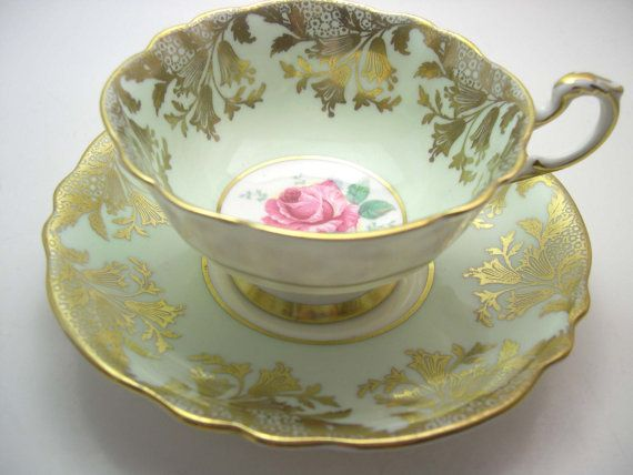 Paragon  Tea cup And Saucer Mint Green with by AntiqueAndCrafts