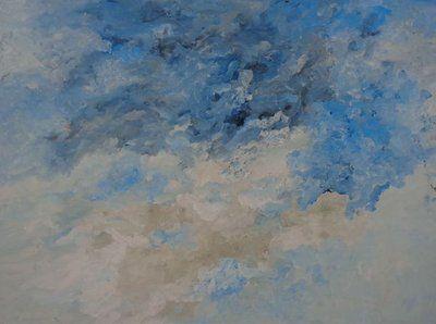Armando (°1929) Abstractie in blauw en wit.   Kleurgiclee op kwaliteitsvol mat papier.
