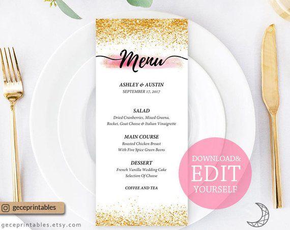 Editable Menu Template 4x9 Printable Menu Card Wedding