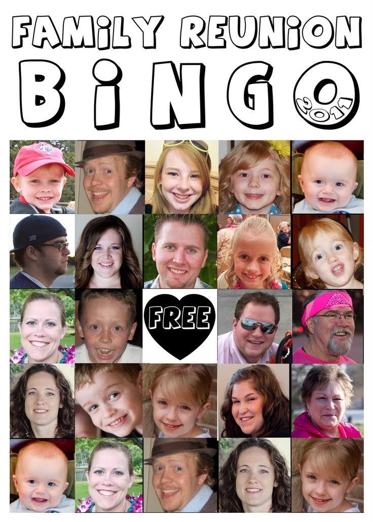 Family Reunion Bingo with photos of family faces.