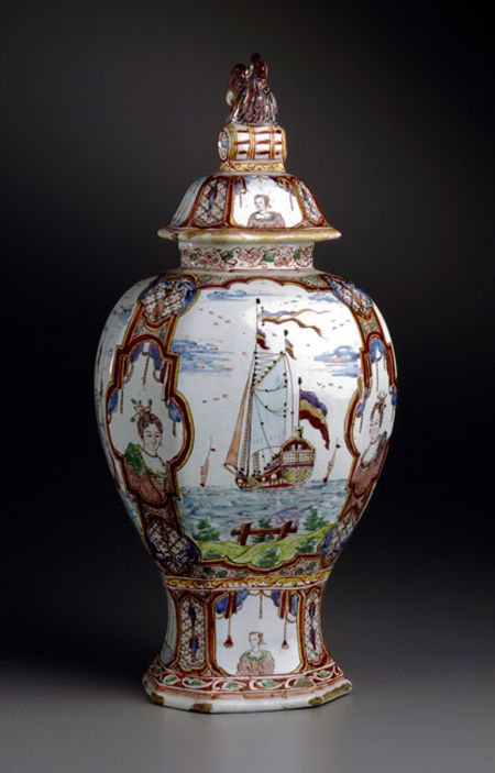 Unknown  Vase and Cover  mid-18th century  Delft ware  12 3/8 x 5 1/2 x 4 1/2 inches