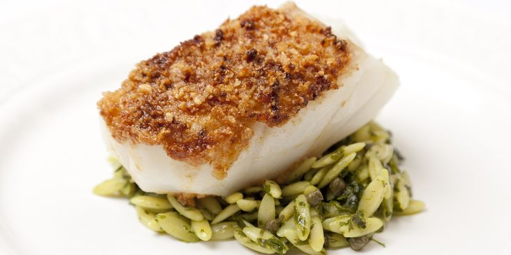 Black cod is crusted with macadamia and served with salsa verde infused orzo in this gorgeous black cod recipe from Luke Holder.