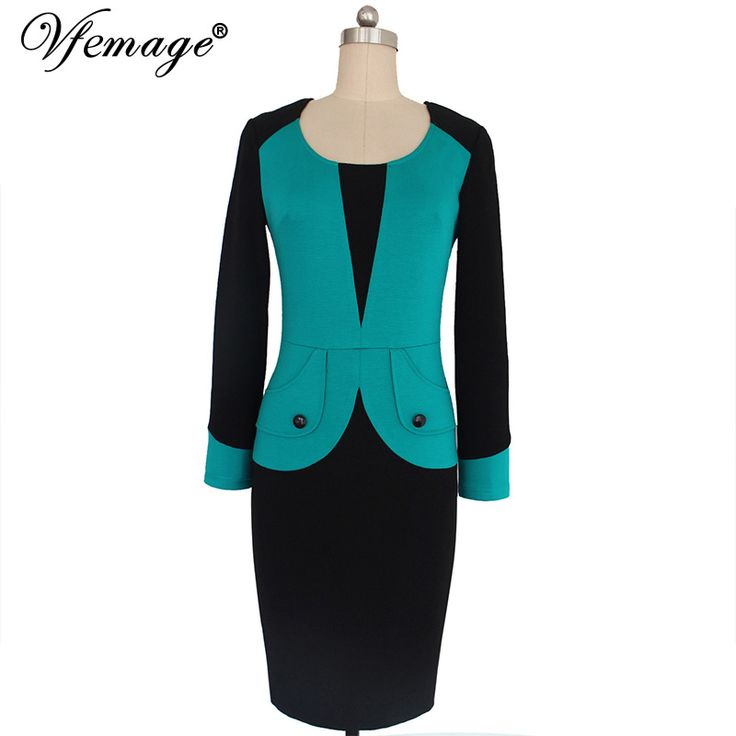 Vfemage Womens Winter Mature Elegant Casual Work Button Patchwork Full Sleeve O-Neck Bodycon Women Office Pencil Slim Dress 4440