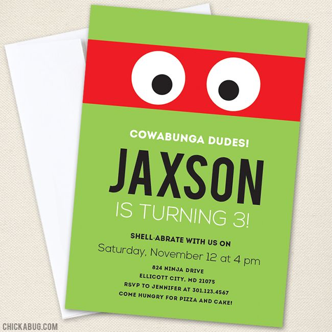 Best 25 Ninja turtle invitations ideas – Turtle Birthday Invitations