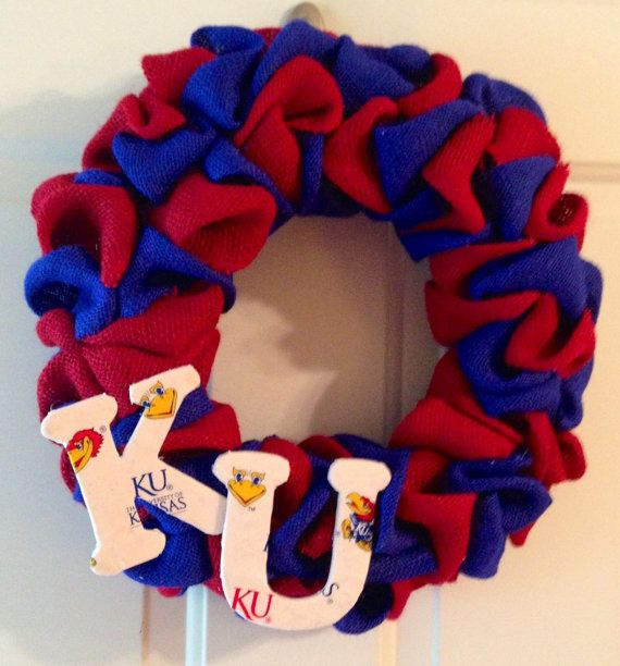 Rock Chalk Kansas Jayhawks Burlap Wreath by FunkyFreshCrafts, $45.00