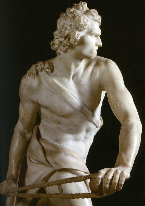 "Gianlorenzo Bernini, ""David"" , marble Sculpture, 170 cm (67 in), Galleria Borghese, Rome, Italy."